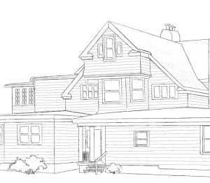 Black and white line drawing of the seth house
