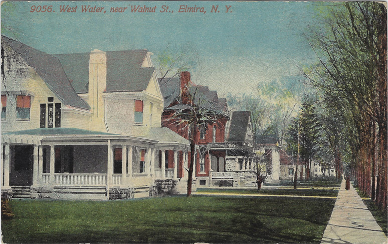 Old postcard of w water street, Seth house